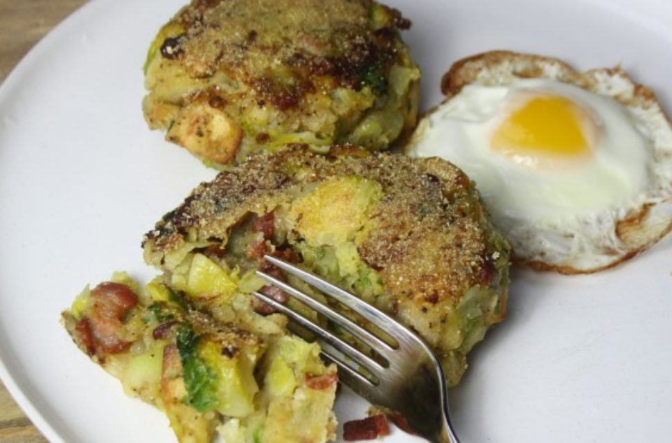 Parsnip, brussels sprout & bacon potato cakes