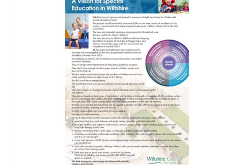 Proposals for vision for special education in Wiltshire outlined
