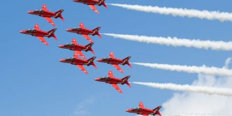 Red Arrows Lead RAF Displays at the Royal Navy International Air Day Before North America Tour
