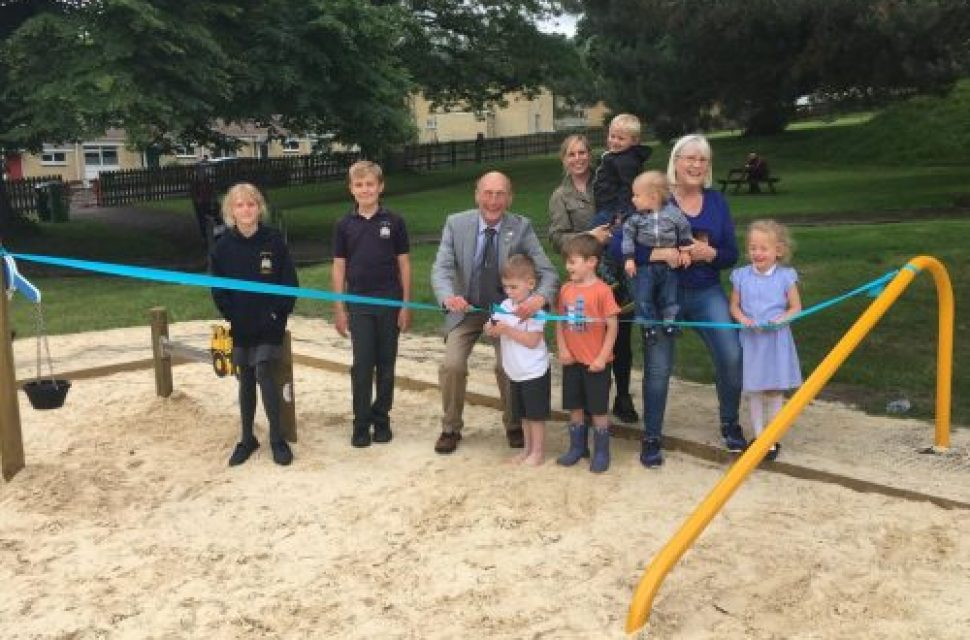 Buckets and spades at the ready for new play sandpit
