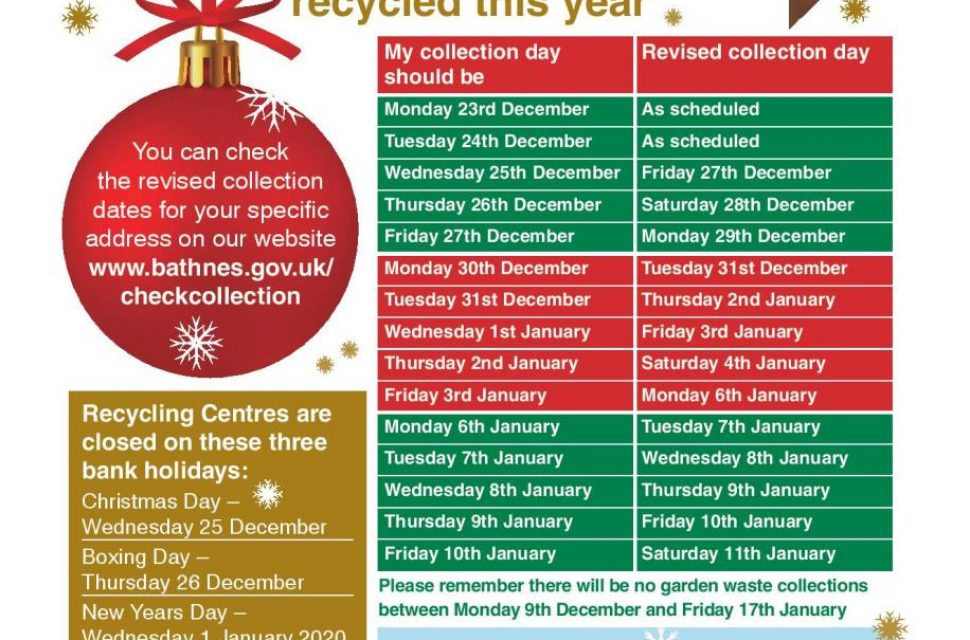 Christmas and New Year recycling and rubbish collections