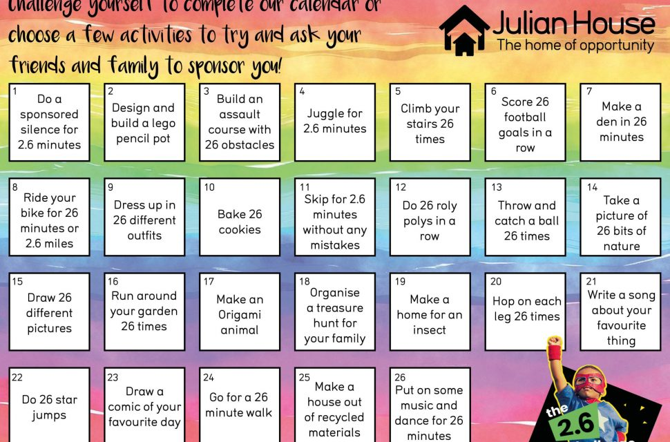 2.6 Challenge Activity Pack sees children taking on creative challenges in support of Julian House