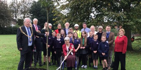 St Cuthbert's School pupils plant a tree for the jubilee