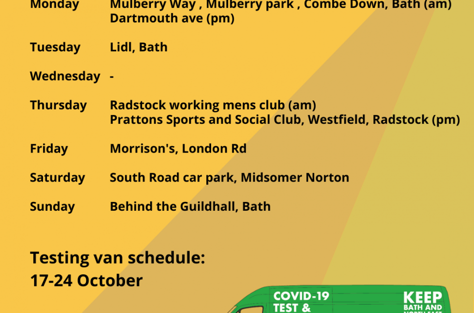 Covid-19 Mobile Testing Van Schedule 12th October – 24th October